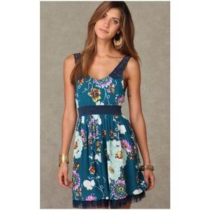 Free People Floral Lace Strap Skater Dress